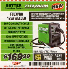 Harbor Freight Coupon TITANIUM FLUXPRO 125A WELDER Lot No. 56359/56355 Valid Thru: 7/31/19 - $169.99
