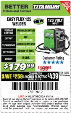 Harbor Freight Coupon TITANIUM EASY-FLUX 125 WELDER Lot No. 56359/56355 Expired: 8/31/19 - $179.99