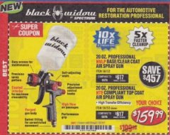Harbor Freight Coupon BLACK WIDOW 20 OZ. PROFESSIONAL HVLP BASE/CLEAR COAT AIR SPRAY GUN, 20 OZ. PROFESSIONAL HTE COMPLIANT TOP COAT AIR SPRAY GUN Lot No. 56152/56153 Expired: 11/14/19 - $159.99