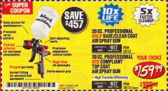 Harbor Freight Coupon BLACK WIDOW 20 OZ. PROFESSIONAL HVLP BASE/CLEAR COAT AIR SPRAY GUN, 20 OZ. PROFESSIONAL HTE COMPLIANT TOP COAT AIR SPRAY GUN Lot No. 56152/56153 Expired: 8/31/19 - $159.99