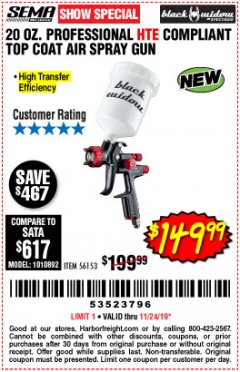 Harbor Freight Coupon BLACK WIDOW 20 OZ. PROFESSIONAL HVLP BASE/CLEAR COAT AIR SPRAY GUN, 20 OZ. PROFESSIONAL HTE COMPLIANT TOP COAT AIR SPRAY GUN Lot No. 56152/56153 Expired: 11/24/19 - $149.99