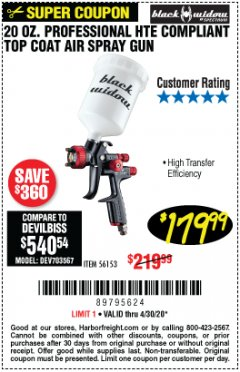 Harbor Freight Coupon BLACK WIDOW 20 OZ. PROFESSIONAL HVLP BASE/CLEAR COAT AIR SPRAY GUN, 20 OZ. PROFESSIONAL HTE COMPLIANT TOP COAT AIR SPRAY GUN Lot No. 56152/56153 Valid Thru: 4/30/20 - $179.99