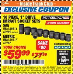 "Harbor Freight ITC Coupon 10 PIECE 1"" DRIVE IMPACT SOCKET SETS Lot No. 69516/67989/67987/69517 Expired: 11/30/18 - $59.99"