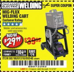 Harbor Freight Coupon MIG-FLUX WELDING CART Lot No. 69340/60790/90305/61316 Expired: 11/3/18 - $29.99