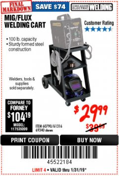 Harbor Freight Coupon MIG-FLUX WELDING CART Lot No. 69340/60790/90305/61316 Expired: 1/31/19 - $29.99