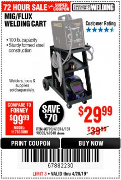 Harbor Freight Coupon MIG-FLUX WELDING CART Lot No. 69340/60790/90305/61316 Expired: 4/28/19 - $29.99