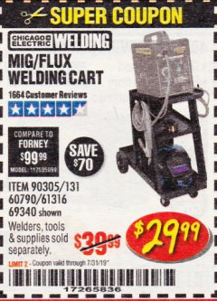 Harbor Freight Coupon MIG-FLUX WELDING CART Lot No. 69340/60790/90305/61316 Valid Thru: 7/31/19 - $29.99