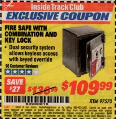 Harbor Freight ITC Coupon FIRE SAFE WITH COMBINATION AND KEY LOCK Lot No. 97570 Expired: 7/31/19 - $109.99