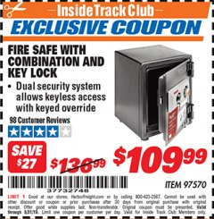 Harbor Freight ITC Coupon FIRE SAFE WITH COMBINATION AND KEY LOCK Lot No. 97570 Expired: 8/31/19 - $109.99