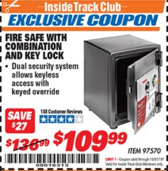 Harbor Freight ITC Coupon FIRE SAFE WITH COMBINATION AND KEY LOCK Lot No. 97570 Expired: 10/31/19 - $109.99