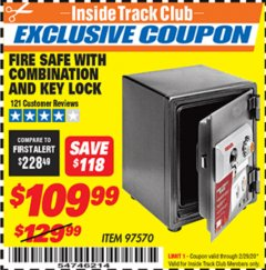 Harbor Freight ITC Coupon FIRE SAFE WITH COMBINATION AND KEY LOCK Lot No. 97570 Expired: 2/29/20 - $190.99