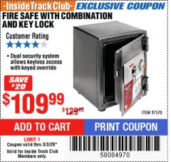 Harbor Freight ITC Coupon FIRE SAFE WITH COMBINATION AND KEY LOCK Lot No. 97570 Expired: 3/3/20 - $109.99