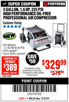 Harbor Freight Coupon FORTRESS 5 GALLON 1.6 HP HIGH PERFORMANCE OIL-FREE AIR COMPRESSOR Lot No. 56402 Expired: 11/3/19 - $329.99