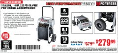 Harbor Freight Coupon FORTRESS 5 GALLON 1.6 HP HIGH PERFORMANCE OIL-FREE AIR COMPRESSOR Lot No. 56402 Expired: 3/2/20 - $279.99
