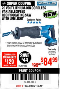 Harbor Freight Coupon HERCULES 20V PROFESSIONAL LITHIUM ION CORDLESS RECIPROCATING SAW Lot No. 64986 Expired: 11/3/19 - $84.99