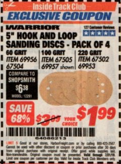 "Harbor Freight ITC Coupon 5"" HOOK AND LOOP SANDING DISCS - PACK OF 4 Lot No. 69956/67504/67505/69957/67502/69953 Expired: 7/31/19 - $1.99"