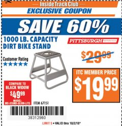 Harbor Freight ITC Coupon 1000 LB. CAPACITY DIRT BIKE STAND Lot No. 67151 Expired: 10/2/18 - $19.99
