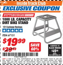 Harbor Freight ITC Coupon 1000 LB. CAPACITY DIRT BIKE STAND Lot No. 67151 Expired: 2/28/19 - $19.99
