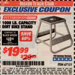 Harbor Freight ITC Coupon 1000 LB. CAPACITY DIRT BIKE STAND Lot No. 67151 Valid Thru: 7/31/19 - $19.99