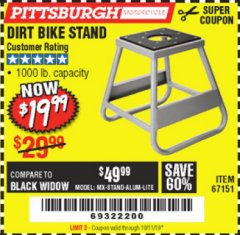 Harbor Freight Coupon 1000 LB. CAPACITY DIRT BIKE STAND Lot No. 67151 Valid Thru: 10/11/19 - $19.99