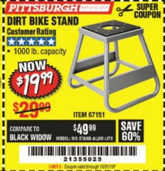 Harbor Freight Coupon 1000 LB. CAPACITY DIRT BIKE STAND Lot No. 67151 Valid Thru: 10/21/19 - $19.99