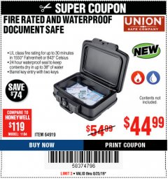 Harbor Freight Coupon FIRE RATED AND WATERPROOF DOCUMENT SAFE Lot No. 64919 Expired: 8/25/19 - $44.99