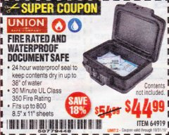 Harbor Freight Coupon FIRE RATED AND WATERPROOF DOCUMENT SAFE Lot No. 64919 Expired: 10/31/19 - $44.99