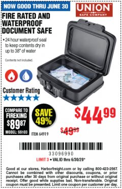 Harbor Freight Coupon FIRE RATED AND WATERPROOF DOCUMENT SAFE Lot No. 64919 Expired: 6/30/20 - $44.99