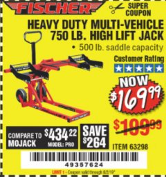 Harbor Freight Coupon 750 LB. HIGH LIFT JACK Lot No. 63298 Expired: 8/2/19 - $169.99