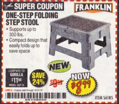 Harbor Freight Coupon FRANKLIN ONE-STEP FOLDING STEP STOOL Lot No. 56185 Expired: 10/31/19 - $8.99