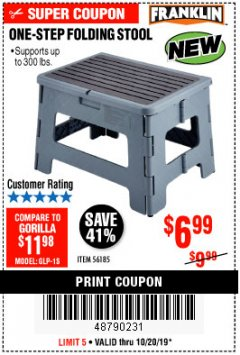 Harbor Freight Coupon FRANKLIN ONE-STEP FOLDING STEP STOOL Lot No. 56185 Expired: 10/20/19 - $6.99