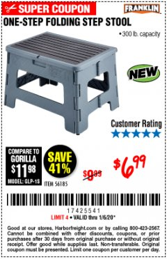 Harbor Freight Coupon FRANKLIN ONE-STEP FOLDING STEP STOOL Lot No. 56185 Expired: 1/6/20 - $6.99