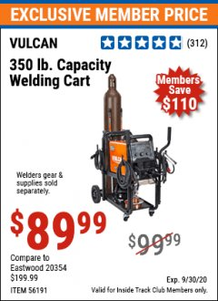 Harbor Freight ITC Coupon VULCAN 350 LB. CAPACITY WELDING CART Lot No. 56191 Expired: 9/30/20 - $89.99