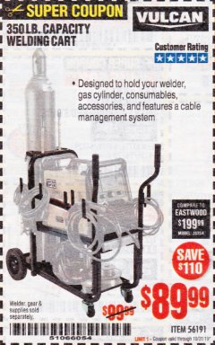 Harbor Freight Coupon VULCAN 350 LB. CAPACITY WELDING CART Lot No. 56191 Expired: 10/31/19 - $89.99