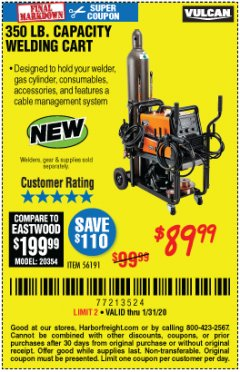 Harbor Freight Coupon VULCAN 350 LB. CAPACITY WELDING CART Lot No. 56191 Expired: 1/31/20 - $89.99