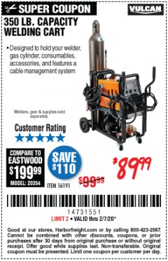 Harbor Freight Coupon VULCAN 350 LB. CAPACITY WELDING CART Lot No. 56191 Expired: 2/7/20 - $89.99