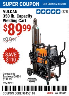 Harbor Freight Coupon VULCAN 350 LB. CAPACITY WELDING CART Lot No. 56191 Valid Thru: 12/3/20 - $89.99
