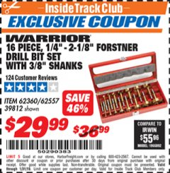 Harbor Freight ITC Coupon 16 PIECE FORSTNER BIT SET Lot No. 62360/39812 Expired: 1/31/19 - $29.99