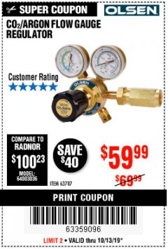 Harbor Freight Coupon CO2/ARGON FLOW GAUGE REGULATOR Lot No. 63787 Expired: 10/13/19 - $59.99