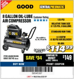 Harbor Freight Coupon 8 GALLON OIL-LUBE AIR COMPRESSOR Lot No. 40400/95386/69667/68740 Expired: 8/25/19 - $114.99