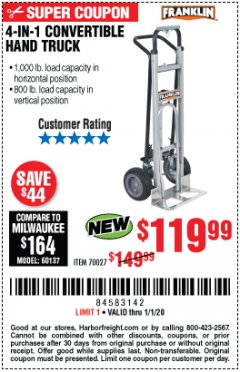 Harbor Freight Coupon FRANKLIN 4-IN-1 CONVERTIBLE HAND TRUCK Lot No. 70027 Expired: 1/1/20 - $119.99