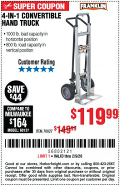 Harbor Freight Coupon FRANKLIN 4-IN-1 CONVERTIBLE HAND TRUCK Lot No. 70027 Expired: 2/9/20 - $119.99