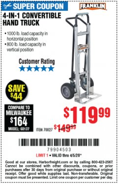 Harbor Freight Coupon FRANKLIN 4-IN-1 CONVERTIBLE HAND TRUCK Lot No. 70027 Expired: 6/30/20 - $119.99