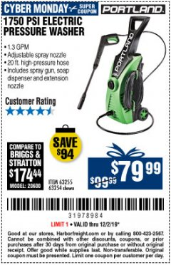 Harbor Freight Coupon $10 OFF ANY PORTLAND PRODUCT Lot No.  62630, 63075,62337, 62469,64497,62896, 63190,63254,69293, 61714 63255 Expired: 12/1/19 - $79.99