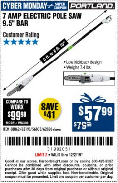 Harbor Freight Coupon $10 OFF ANY PORTLAND PRODUCT Lot No.  62630, 63075,62337, 62469,64497,62896, 63190,63254,69293, 61714 63255 Expired: 12/1/19 - $57.99