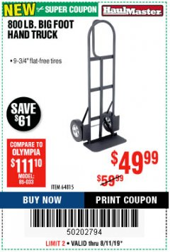 Harbor Freight Coupon 800LB, BIGFOOT HAND TRUCK Lot No. 64815 Expired: 8/11/19 - $49.99