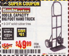 Harbor Freight Coupon 800LB, BIGFOOT HAND TRUCK Lot No. 64815 Expired: 9/30/19 - $49.99
