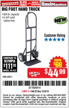 Harbor Freight Coupon 800LB, BIGFOOT HAND TRUCK Lot No. 64815 Expired: 12/8/19 - $44.99