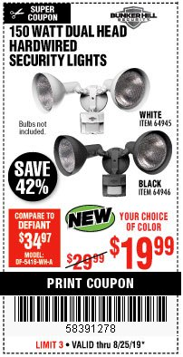 Harbor Freight Coupon 150 WATT DUAL HEAD HARDWIRED SECURITY LIGHTS Lot No. 64945, 64946 Expired: 8/25/19 - $19.99