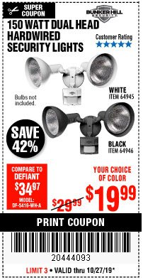 Harbor Freight Coupon 150 WATT DUAL HEAD HARDWIRED SECURITY LIGHTS Lot No. 64945, 64946 Valid Thru: 10/27/19 - $19.99
